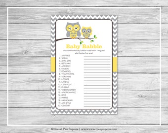 Owl Baby Shower Baby Babble Game - Printable Baby Shower Baby Babble Game - Yellow Owl Baby Shower - Owl Shower - Baby Word Scramble - SP133