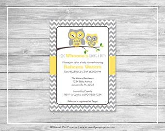Owl Baby Shower Invitation - Printable Baby Shower Invitation - Yellow Owl Baby Shower - Baby Shower Invitations - Owl Baby Shower - SP133
