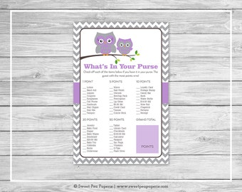 Owl Baby Shower What's In Your Purse Game - Printable Baby Shower What's In Your Purse Game - Purple Owl Baby Shower - Purse Game - SP136