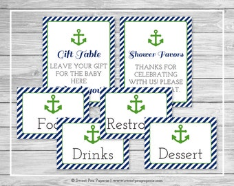 Nautical Baby Shower Table Signs - Printable Baby Shower Table Signs - Navy Green Baby Shower - Table Signs - Shower Signs - EDITABLE- SP120