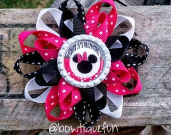 Minnie Mouse hair bow, Minnie hair bow, Minnie bow, Minnie mouse bow, girls hair bow, Pink and black hair bow, Disney hair bow, bow