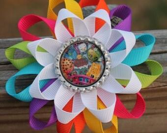 Shopkins hair bow, hair bow, shopkins inspired bow, girls hair bow, shopkins, hair bow, candyland hair bow, shopkins birthday party hair bow