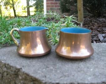 Single serve copper sugar and creamer pitchers