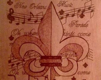 New Orleans Saints, Who Dat, Fleur De Lis, Wood burn Pryography Art