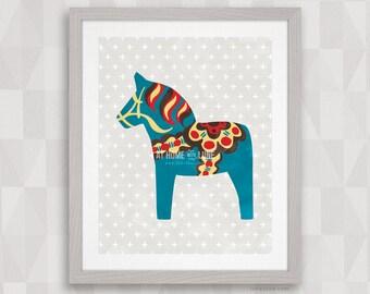 Dala Horse: Watercolor Blue, Red, Yellow. Nordic Wall Art. Sweden Dalahäst, Scandinavian Dalecarlian Pony. Original 8x10 16x20 Digital Print