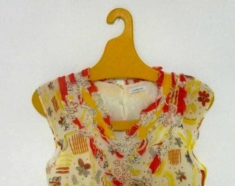 Delicate and Feminine Cacharel Yellow and Red Silk top XS