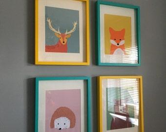Woodland nursery art, animal nursery art, print set of 4, fox print, deer print, nursery wall decor, art for kids, children wall decor, 612