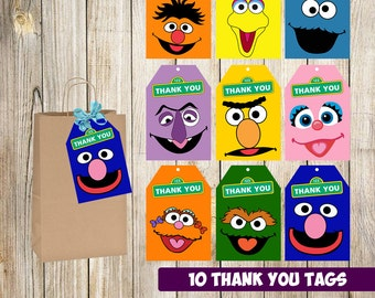 Sesame Street Thank you tags instant download, Printable Sesame Street Thank you cards, Sesame Street gift tags