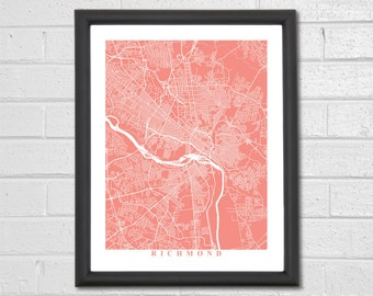 Richmond Map Art - Map Print - Virginia - Map Print - Home Map - Anniversary Gift - Map Art - Home Decor - Birthday Gift - Travel Gift