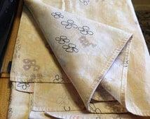 """Retro Linen Banquet Craft Bazaar Church Fair Tablecloth. 60 x 84"""".  Crafts/cutters."""