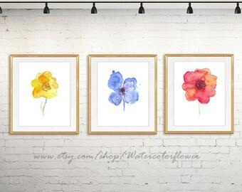 Flower art print, flower paintnig, watercolor flower, watercolor painting flower, floral art, flower Ilustration, set of 3 prints - 11/94/95