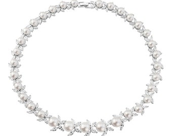 Elegant Pearl Cubic Zirconia Necklace, Bridal Necklace, Wedding Necklace, Ivory Pearl CZ Necklace, Cubic Zirconia, UK Seller, Bridal Jewelry