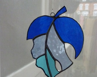 Stained glass blue Leaf suncatcher
