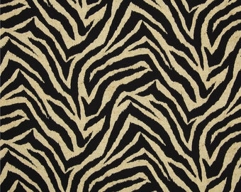 Bryant Indoor/Outdoor Wild Thing Blackbird Cut Yardage Fabric Black Ivory Zebra Print