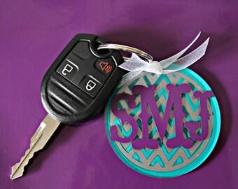 Custom Chevron Monogram Keychain
