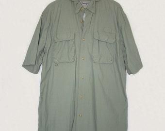 BIMINI BAY Men's Vented Sport Shirt Quick Dry Shirt, Olive Green Short Sleeve Shirt Golf Fishing Sailing Kayaking Boating Quick Dry Shirt