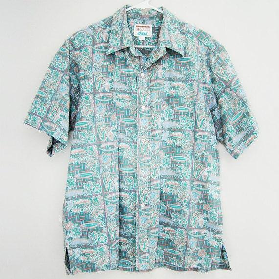 Items similar to mens kahala hawaiian shirt fish surf for Fish hawaiian shirt