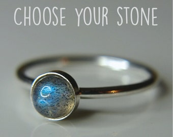Labradorite Sterling silver stacking ring, Dainty thin band with lovely gemstone great addition to any stack - available with many stones