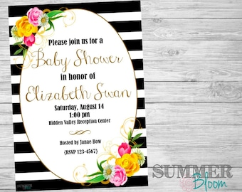 Floral and Stripes Baby Shower Invitation