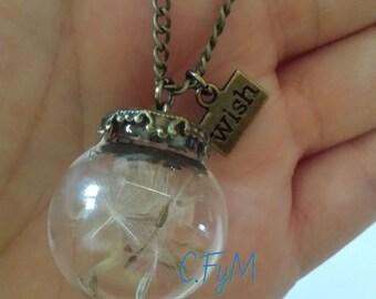 Real Dandelion Necklace, dandelion necklace, dandelion jewelry, wish necklace , luck, dandelion seeds, glass orb, wish, natural jewelry