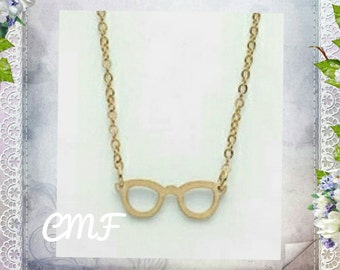 Glasses Necklace 925 Gold Necklace Glasses Pendant