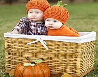 CLEARANCED SALE!Newborn Baby crocheted pumpkin cap Photo, Fall newborn photo prop, thanksgiving baby photo prop, Halloween baby photo prop