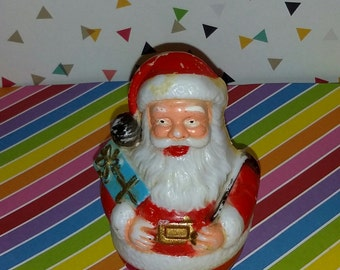 Vintage 1960s Santa Rolly Polly Rattle Plastic Toy