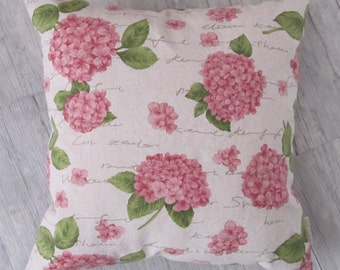 "Hydrangea Cushion 40x40cm (16""x16""), Decorative Pillow, Shabby Cottage style, For Mom, Floral design, Garden design, Mother's Day gift"