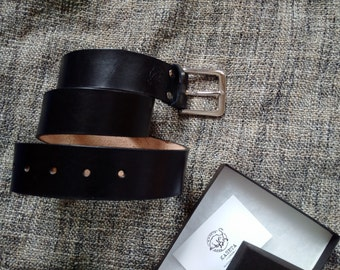 Belt 'Rage 44' full grain leather, Black