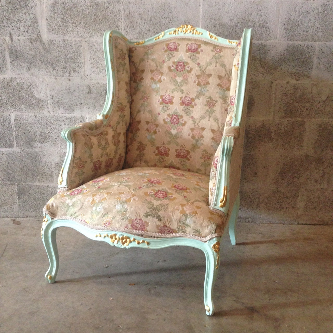Antique French Louis XVI Chairs *1 Available* Fauteuils Wingback Rococo  Baroque Green Minty Frame Gold Leaf Accent Gild Shabby - Antique French Louis XVI Chairs *1 Available* Fauteuils Wingback