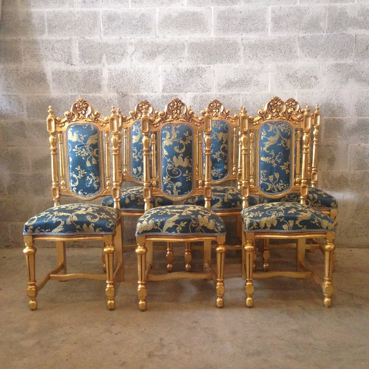 Blue Gold Dining Chairs Antique Italian Baroque Set of