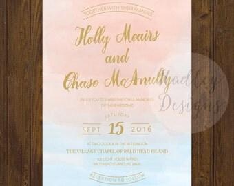 Water Color Wedding Invitation, Watercolor Wedding Invitations, Elegant Wedding Invitation, Gold Wedding Invite, Modern Wedding Invitation