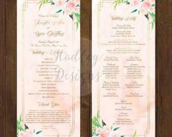 Water Color Wedding Program, Modern Wedding Program, Purple Wedding Program, Classic Wedding Program, Elegant Program