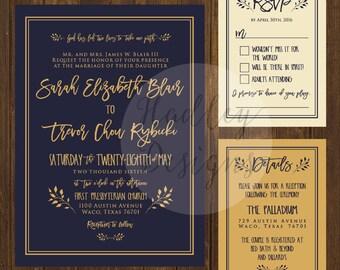 Navy Wedding Invitations, Navy and Gold Wedding Invitation, Elegant Wedding Invitation, Gold and Navy, Modern Wedding Invites
