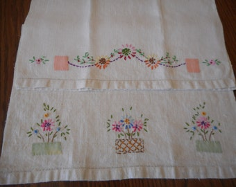 A Set of Vintage Linen  Tea Towels - Hand Embroidery