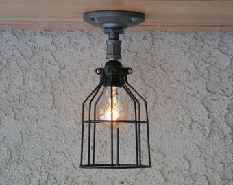 Cage ceiling light, Industrial Ceiling Light, Sconce Lighting,Wall Mount Lighting, Edison Bulb Lighting