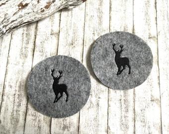 4 deer * coasters felt coasters grey/black