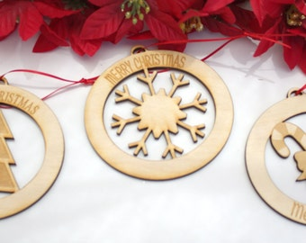 Personalized Wooden Engraved Christmas Ornaments, Set of 3
