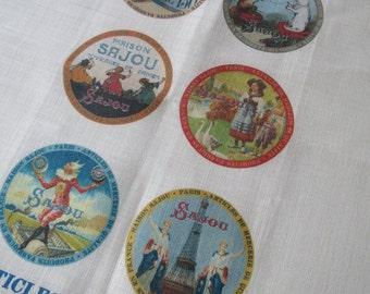Sajou Vintage Labels French Linen Printed Tea Towel- Natural or Off White
