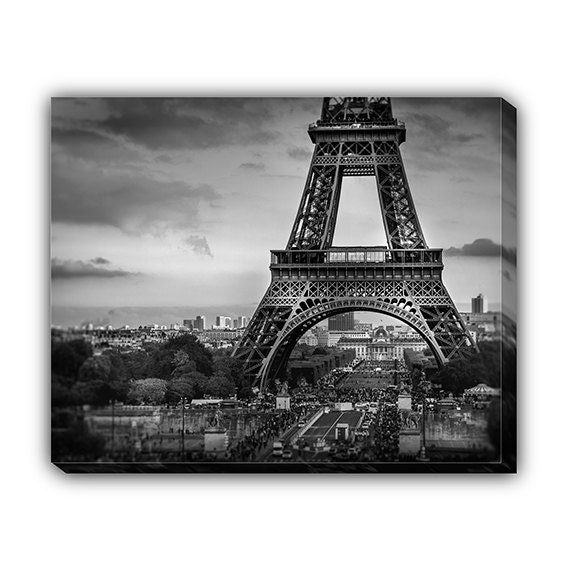 Eiffel tower canvas wrap black and white wall art french home for Eiffel tower wall mural black and white