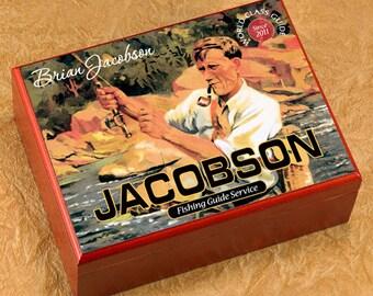 Personalized Cigar Humidor - Cigar Box Case Humidifier - Fishing Guide