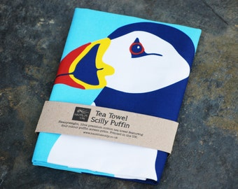 Scilly Puffin Tea Towel