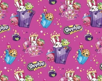Moose - Shopkins Bags Of Fun Fabric - Magenta - sold by the 1/2 yard