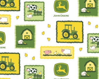 ON SALE!! John Deere - Farm Scene Patch Fabric - White - sold by the 1/2 yard