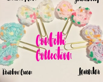 Crochet Bow Paperclips - Confetti Collection