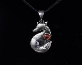 Fox Pendant, sterling silver, handmade