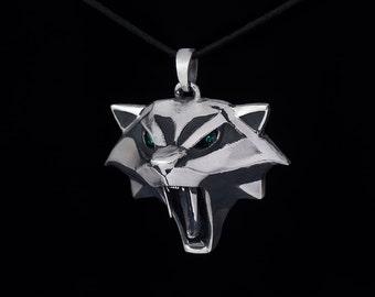 Cat School Medallion Cosplay Pendant, Ciri Medallion, sterling silver or white bronze, handmade