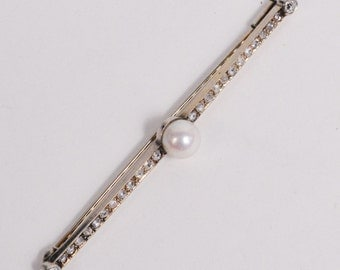 Vintage 18K White GOLD Brooch with PEARL & DIAMONDS (4.2g)