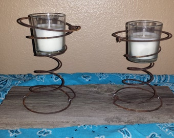 Double Candle Holder with Barn Wood Base