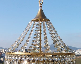 Antique Ceiling Light Vintage French Brass Sparkling Crystal Basket Chandelier